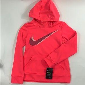 New Nike girls Therma hoodie swoosh size M pink